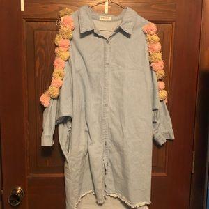Pom Pom cold shoulder dress/shirt